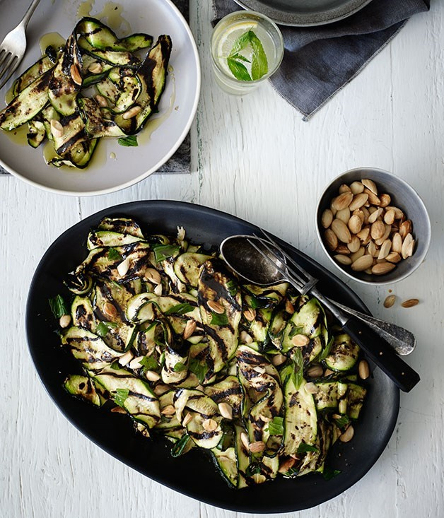 **Char-grilled zucchini with mint and almonds**