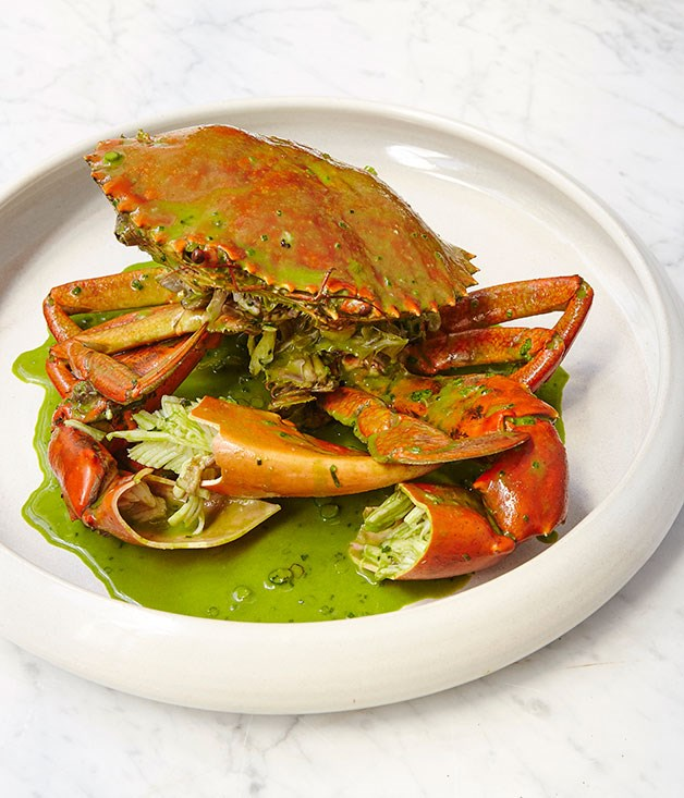 "**Northern Territory mud crab with green garlic and tarragon sauce** <br><br> ""Lots of the mud crab that you see in Sydney comes from the Northern Territory; the meat is super sweet. At Cirrus, I wanted to do whole crab but I didn't want to do chilli crab or black pepper crab. That has its place and is fantastic, but Cirrus is doing it a little bit differently - the crab is steamed and served with a green garlic and tarragon sauce and brioche. We're making the brioche in-house so it's nice and soft and has a nice glaze on it - and we're quite generous with the sauce, so it's great for mopping."" <br><br> BRENT SAVAGE"