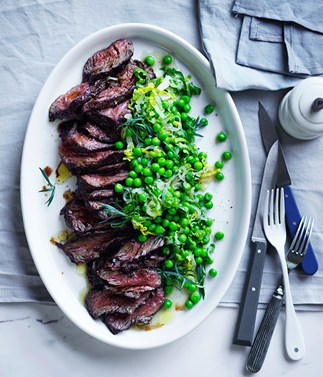 Pepper hanger steak with peas and lettuce