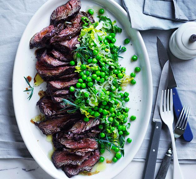 Pepper hanger steak with peas and lettuce