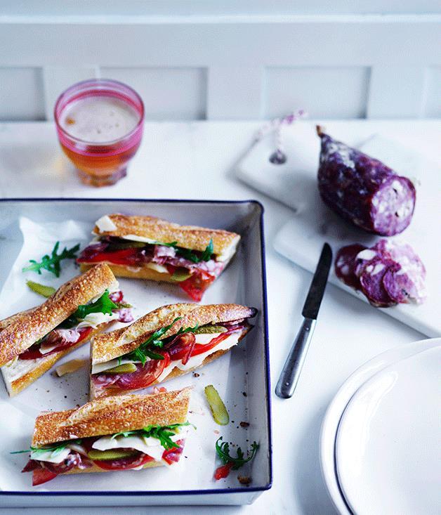 "**[Emmental and saucisson baguette](https://www.gourmettraveller.com.au/recipes/fast-recipes/emmental-and-saucisson-baguette-13749|target=""_blank"")**"