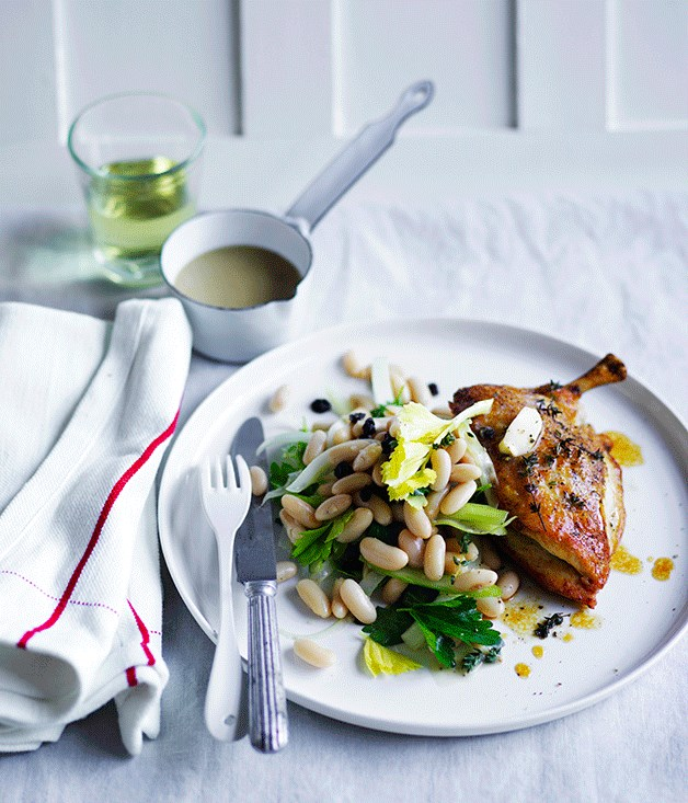 """**[Roast chicken with celery, anchovy and white bean salad](http://www.gourmettraveller.com.au/recipes/fast-recipes/roast-chicken-with-celery-anchovy-and-white-bean-salad-13764
