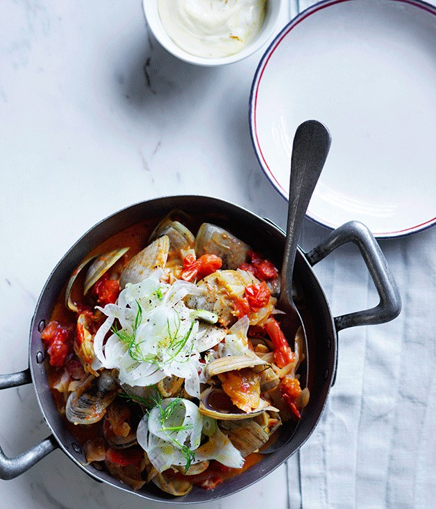 Tomato and fennel clams with saffron mayonnaise