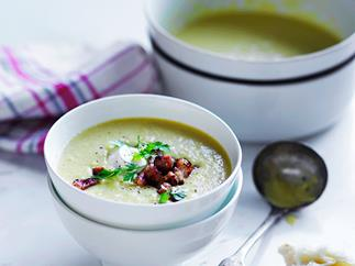 Spring corn and bacon soup with crème fraîche