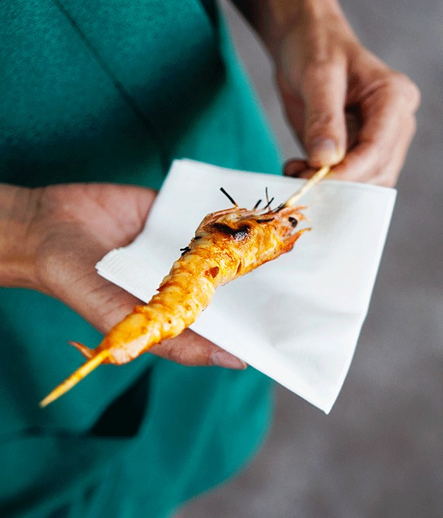 "[Prawns barbecued in XO sauce](http://www.gourmettraveller.com.au/recipes/chefs-recipes/prawns-barbecued-in-xo-sauce-8493|target=""_blank"")"