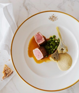 Barbecued veal, artichokes, peas and broad beans with oyster cream