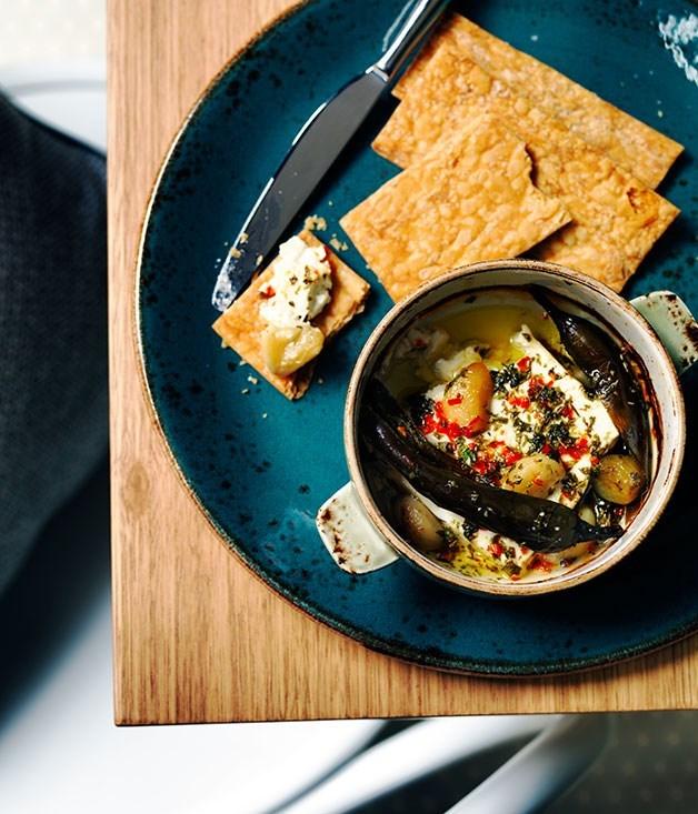 **Barrel-aged feta tou fournou with chilli, roast garlic and oregano**