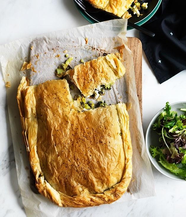 **Broccoli, feta and anchovy fillo pie**