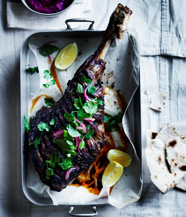**Shawarma-spiced roast lamb leg with beetroot sauce**