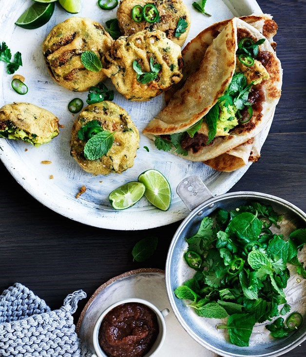 **Spiced potato and pea fritters with sweet and sour chutney**