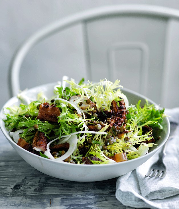 Octopus, frisée and fennel salad with lardons and lentil dressing