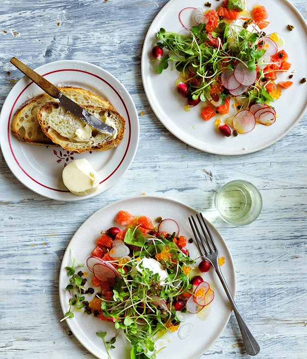 """[Trout salad with radishes and trout roe](http://www.gourmettraveller.com.au/recipes/browse-all/trout-salad-with-radishes-and-trout-roe-12610