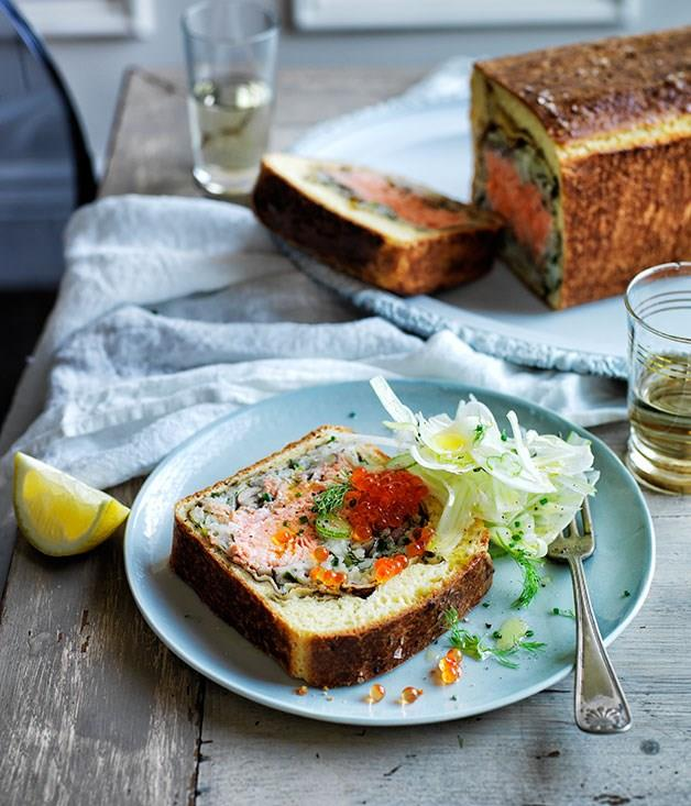 "[**Ocean trout in crêpes and brioche**](https://www.gourmettraveller.com.au/recipes/browse-all/ocean-trout-in-crepes-and-brioche-12360|target=""_blank""