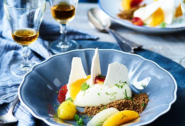 Philippe's almond blanc-manger with citrus, spéculoos and meringue