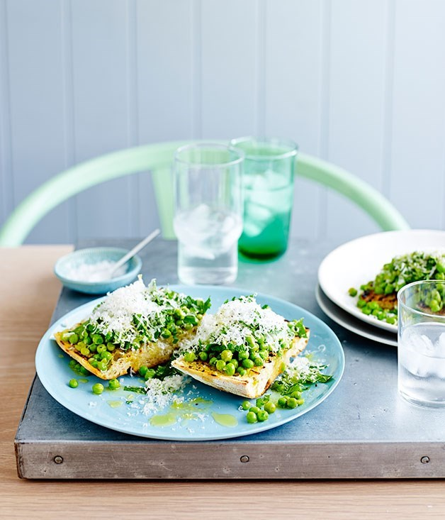 **Smashed peas with mint, lemon and pecorino on bruschetta**