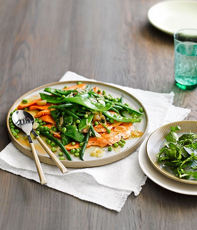**Escalopes of ocean trout with spring vegetables**