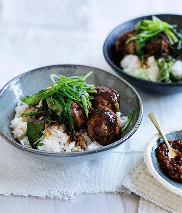 """**[Pork and ginger meatballs with choy sum](https://www.gourmettraveller.com.au/recipes/fast-recipes/soy-pork-and-ginger-meatballs-with-hoisin-greens-and-rice-13743