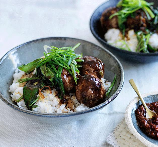 Soy pork and ginger meatballs with hoisin greens and rice