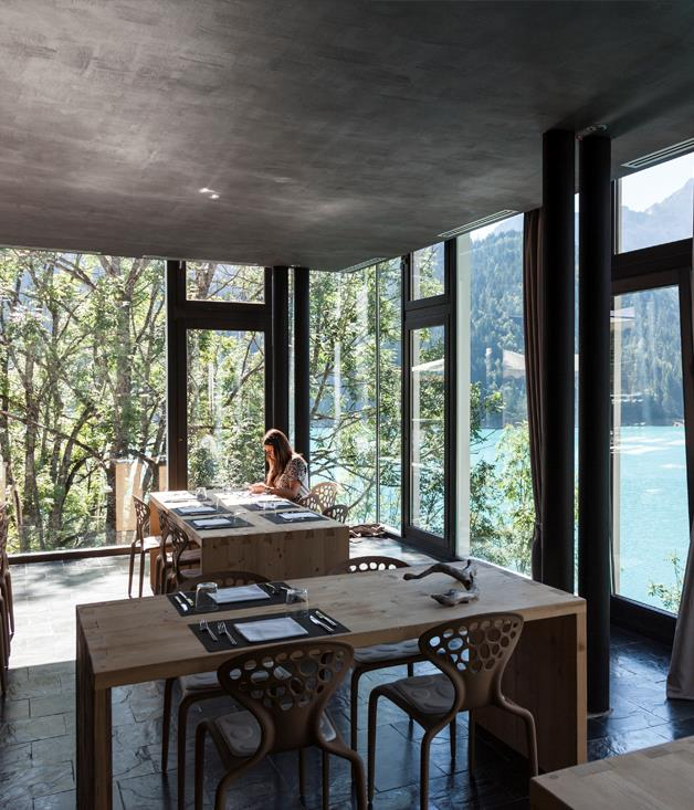 **MAANJA Lake Suite & Restaurant's Restaurant Interior** The restaurant offers a 240 degree view and was designed by Alessia Princic, one ofthe most famous architects to come out of the Friuli region, known for his use of varying materials and the ability to maximise the surroundings.