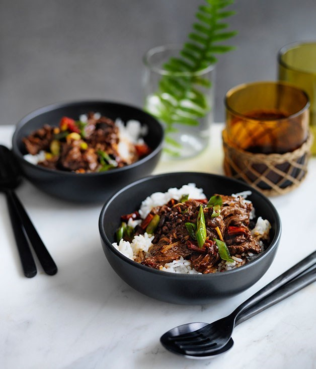 **Sichuan-style boiled beef with rice**