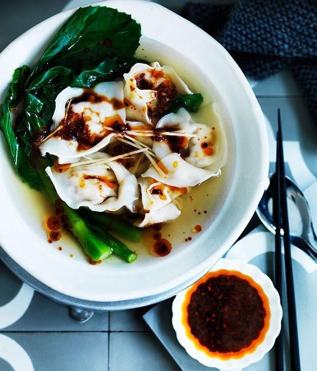 **Wonton soup with Sichuan red oil and black vinegar chilli sauce**