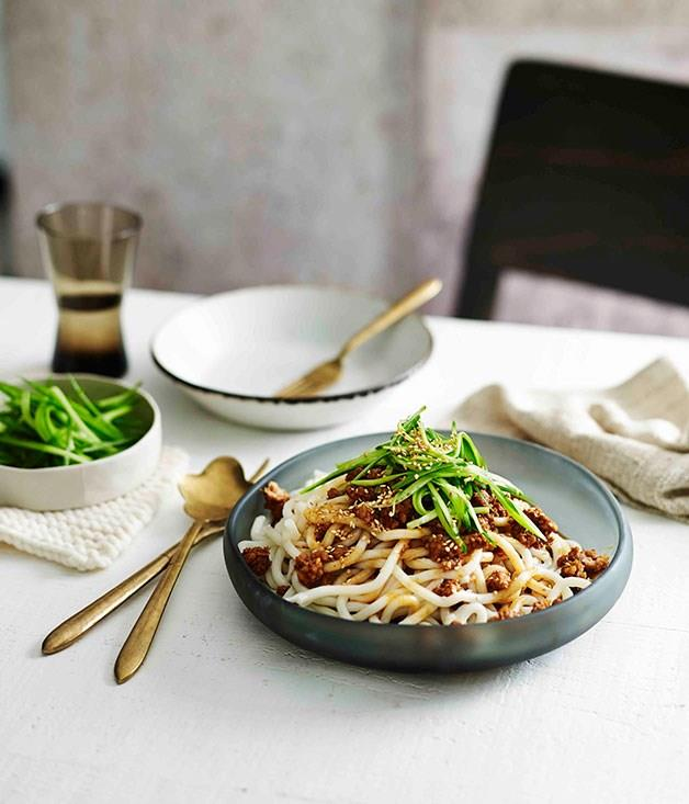 **Minced Pork Noodles with ginger and sesame**