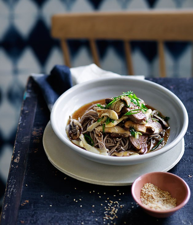 **Soba noodles with miso flank steak, soy and mushrooms**