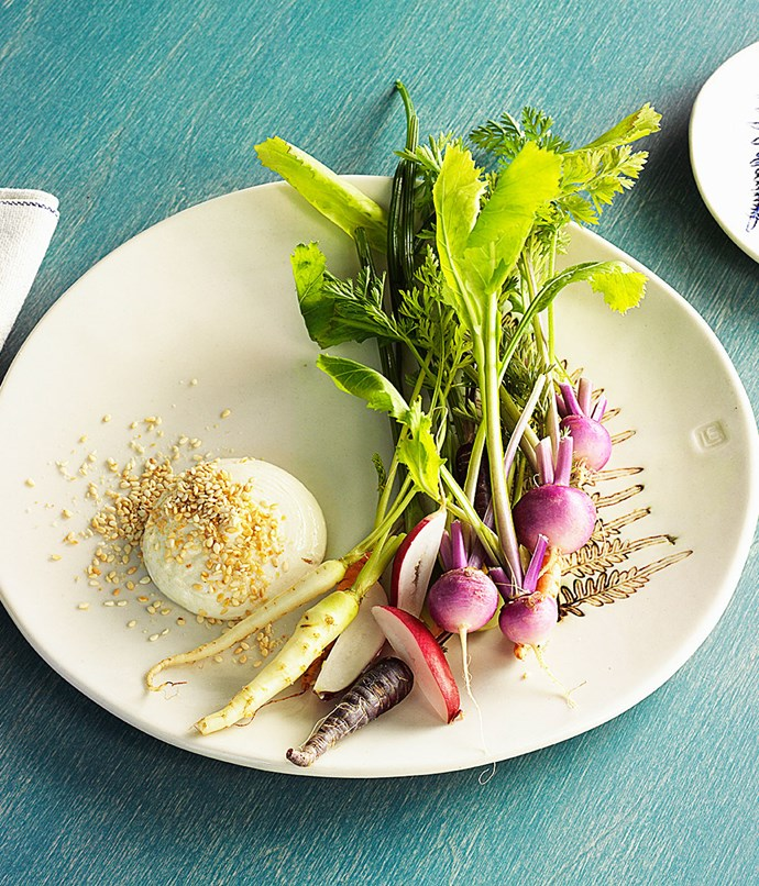 "**Vegetable crudité, sesame yoghurt, pepper leaf oil** ""One of my favourite things is beautiful young vegetables. We're really using just the best of the season: some tiny heirloom carrots, blush turnips and breakfast radishes, with tahini yoghurt on the side to dip them into. We've infused olive oil with some native Australian pepper leaf to drizzle over the top."""