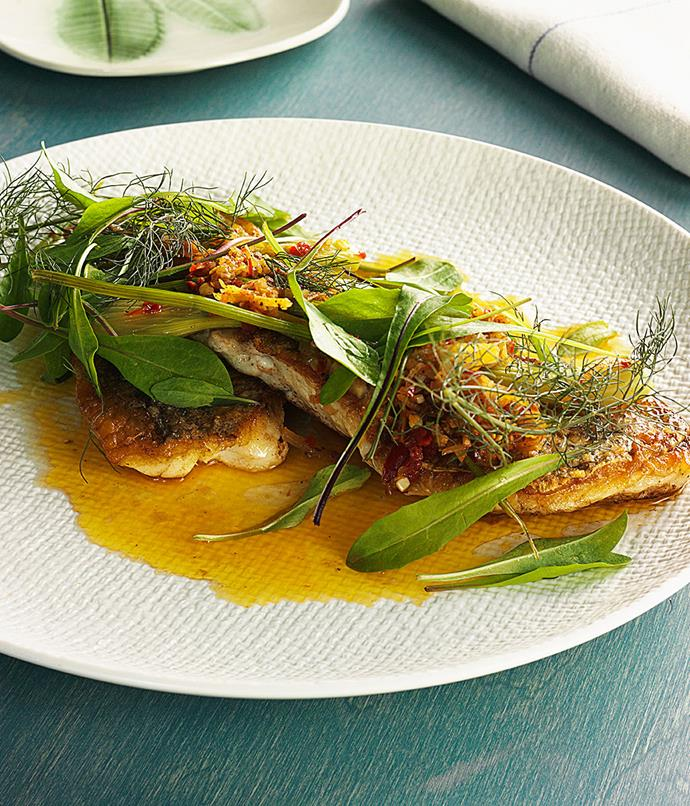 **Seared snapper fillet, wild fennel vinaigrette, fermented chilli, dandelion** The kicker here is the dressing. Ingham warms olive oil, adds eschalots[](https://www.google.com.au/search?q=eschalots&spell=1&sa=X&ved=0ahUKEwjl4e6E7uXPAhVGnpQKHRNuC80QvwUIGigA), anchovies, wild fennel tips and baby fennel, preserved lemon and juice and some fermented chilli. Some fresh dandelion leaves are scattered over the top.