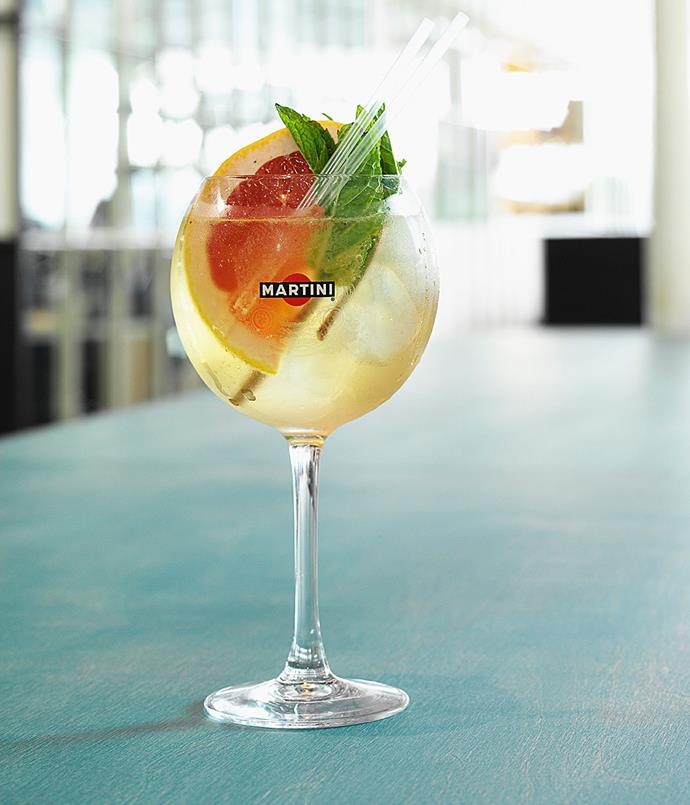 **Elderflower sangria** Martini Bianco Vermouth, St Germain Elderflower Liqueur, mint, cucumber and ginger ale.