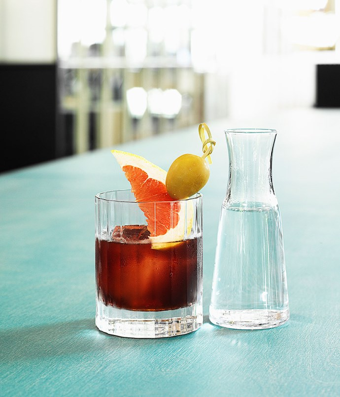 **The Australiano** Regal Rogue Red, The Italian Aperitif, Tasmanian Pepperberry Bitters, soda, grapefruit and olive.