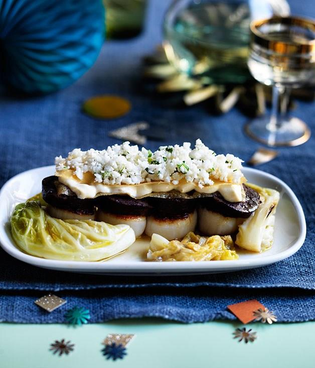 "[**Bodega's morcilla and scallops with braised cabbage, tahini sandwich and picked cauliflower**](https://www.gourmettraveller.com.au/recipes/chefs-recipes/bodegas-morcilla-and-scallops-with-braised-cabbage-tahini-sandwich-and-pickled-cauliflower-8433|target=""_blank"")"