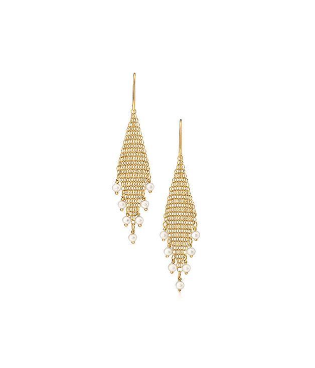 **Tiffany & Co** Tiffany & Co Elsa Peretti Mesh Fringe earrings in 18-carat gold with pearls,[$1,250](http://www.tiffany.com.au/).