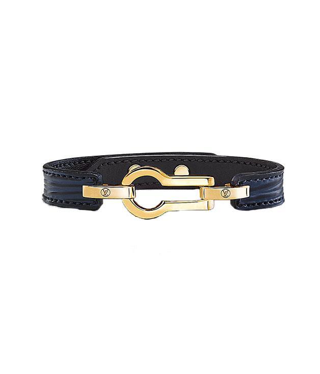 """**Louis Vuitton** [Louis Vuitton](http://au.louisvuitton.com/eng-au/homepage) """"Serrure"""" leather bracelet, $325."""