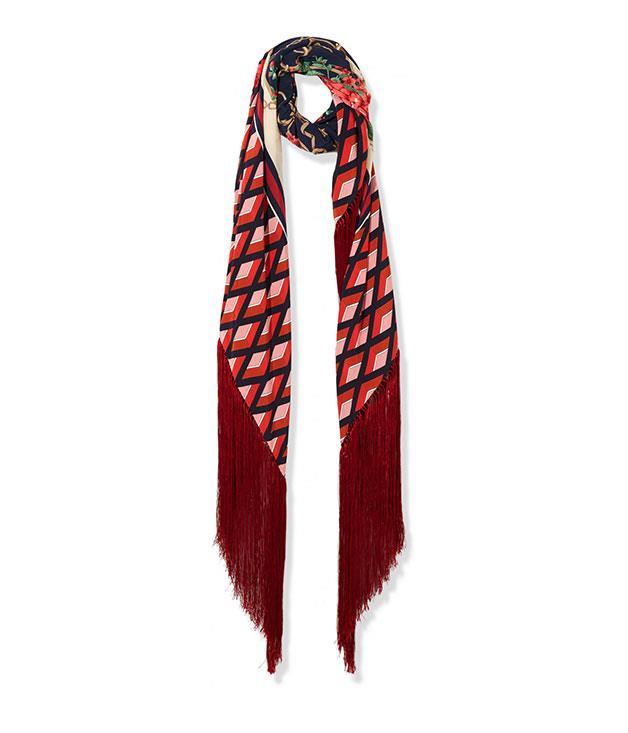 **Gucci** Gucci silk-twill scarf, $1,520, from [Net-a-Porter](https://www.net-a-porter.com/).