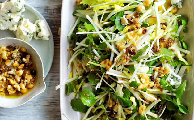 Apple, celery and Roquefort salad with roasted hazelnut-raisin dressing