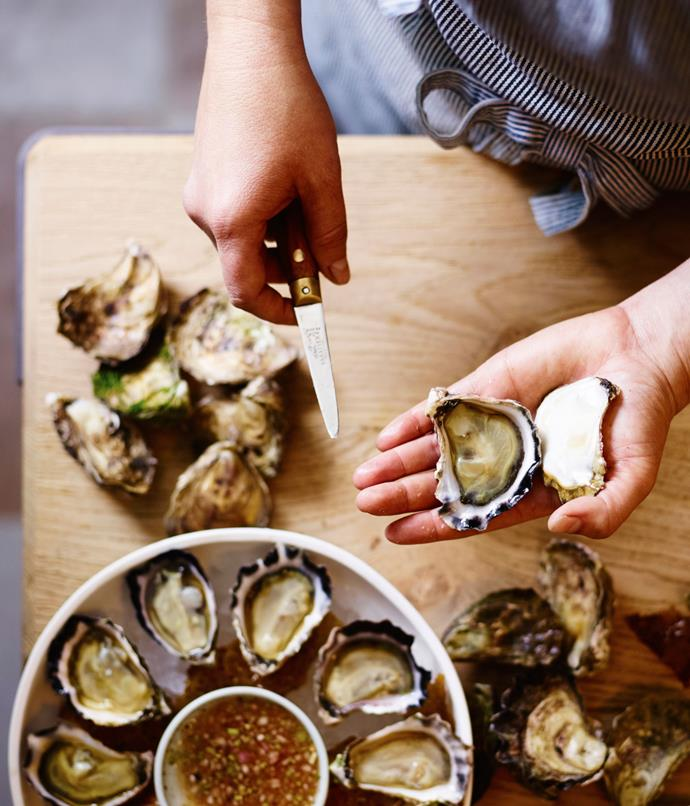 "**Clair de Lune oysters with coriander, lime and white pepper mignonette** ""The oysters we're getting are from Steve Feletti, of Moonlight Flat Oysters at Batemans Bay, and are shucked to order. They're such a beautiful product. Oysters are a beautiful way to start a meal - they wake up your palate with ease, and what better way to start than with a glass of Champagne and beautiful produce from not too far from here?"""