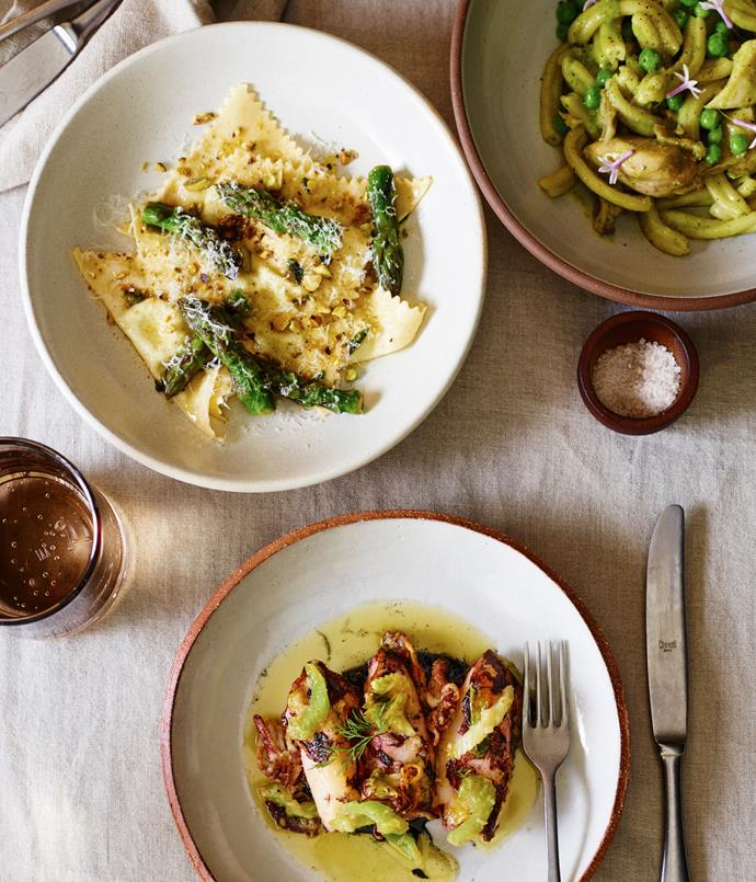 "**Asparagus triangoli; casarecce with rabbit, peas, whey and society garlic; wood-oven squid with celery and preserved lemon** ""Wine-wise, you'll be able to open almost everything on the list and buy it by the glass. We want to give the guests a lot of leeway with what they want to try, and for the drinks to have just as much flexibility as the food. Our head sommelier, Caitlyn Rees, and Franck \[Moreau, Merivale\] have chosen a lot of unique and small-batch wines from Australia, the US and throughout Europe, and changing the wines daily is a goal. There'll be some natural wines - which is a bit different for Merivale - and while that's certainly not the focus of the list, if you're excited by that, you won't be disappointed."""