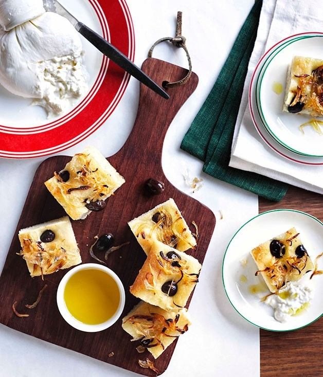 **Focaccia with potato, onion, olives and burrata**