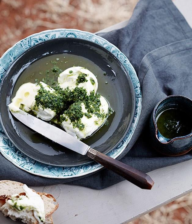 **Burrata with green relish**
