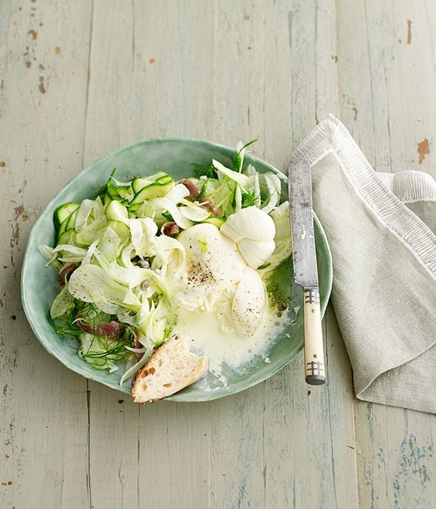 **Shaved zucchini, fennel and mint salad with burrata**