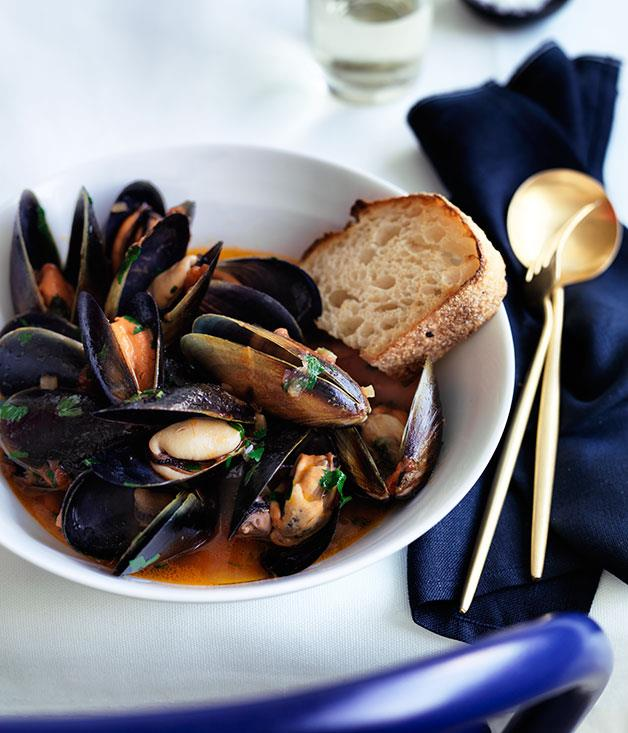 "**[Maurice Terzini's squazzata di cozze](https://www.gourmettraveller.com.au/recipes/chefs-recipes/maurice-terzinis-squazzata-di-cozze-8527|target=""_blank"")**"