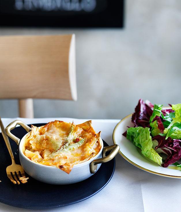 "[Rinaldo Di Stasio's lasagne con aragosta (lasagne with lobster)](http://www.gourmettraveller.com.au/recipes/chefs-recipes/rinaldo-di-stasios-lasagne-con-aragosta-8524|target=""_blank"")"