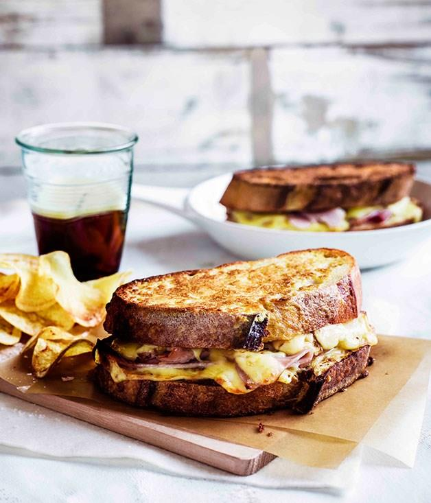 "**[Monte Cristo sandwiches with potato crisps](https://www.gourmettraveller.com.au/recipes/browse-all/monte-cristo-sandwiches-with-potato-crisps-11329|target=""_blank"")**"
