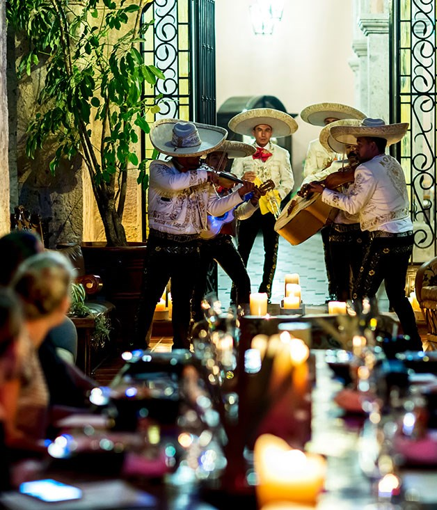 **Mariachi band Moya performs on the hacienda terrace**