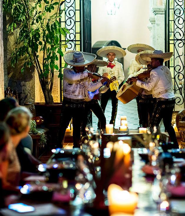 **Mariachi band Moya performs on the hacienda terrace**
