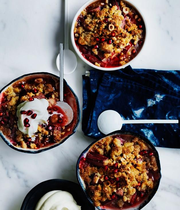 **Rhubarb, pomegranate and hazelnut crumble**