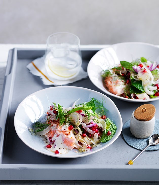**Fish with tahini sauce, pomegranate and fennel**