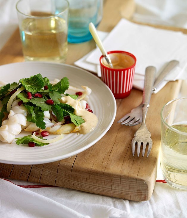 **Squid with pomegranate and herb salad with Clare Valley riesling**