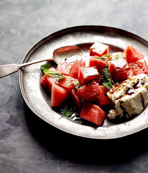 **Watermelon with rosewater, labne, mint and pomegranate molasses**